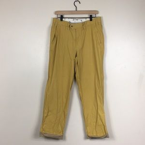 Hiltl Contemporary Fit Yellow Flat Front Trousers